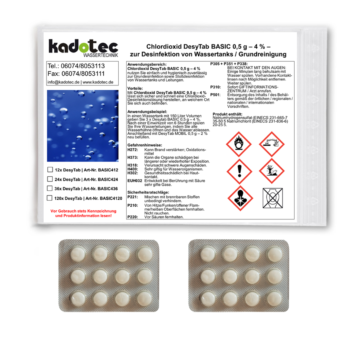 Chlordioxid Tabletten BASIC 0,5 g  4 /% Wassertank-Desinfektion 36x Tabs