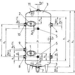 Druckbehälter verzinkt nach DIN 4810 Grafik